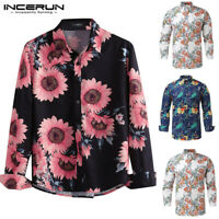 Mens Casual Floral Printed Shirts Long Sleeve Printed Slim Fit Shirt Casual Tops