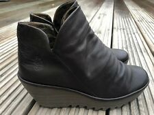EXCELLENT CONDITION - Fly London Yip Wedge leather Ankle Boots Brown UK 7 EU 40