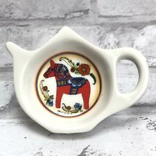 Swedish Red Dala Horse Dalahäst Kitchen Refrigerator Magnet Teapot Shaped Flower