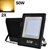 2x 50W LED Flood Light Warm White Spotlight Outdoor Security Lamp Lighting