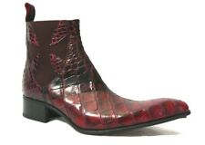 JEFFERY-WEST Black and Red Croc Effect ROCHESTER 'Dragon' Chelsea Boot  - UK 8