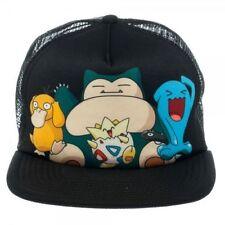 AMAZING Pokemon Group Psyduck Snorlax Togepi Wobbuffet Trucker Snapback Cap Hat