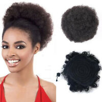 Short Updo Chignon Afro Ponytail Puff Drawstring Wrap Curly Hair Bun Synthetic
