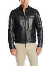DOCKERS Men's Soft Cowhide Moto Leather Jacket Black and Brown Small-XXL