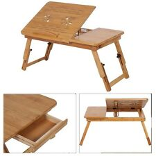 Modern Bamboo Bed Sofa Tray Table Foldable Lap Laptop Desk Anti-slip with Drawer