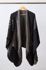 BB DAKOTA PONCHO SWEATER Black Gray NEW Winter FabFitFun 2017 Reversible $78