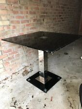 Black Smoked Glass Square Table with Four Faux Leather Backed Chairs