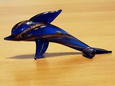 Glass Dolphin Blue with gold fleck streaks 4 inches