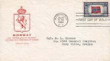 1943 Washington DC Honoring Oppressed Nations Norway Crest WWII First Day Cover