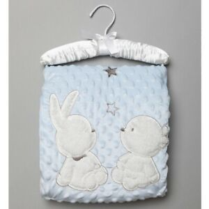 Baby Blue Dimple Wrap with Sherpa On a Satin Padded Hanger.