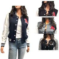 Women's Raglan Letter A Patch Varsity Baseball Jacket (S-L)