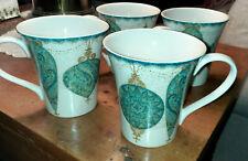 Set of 4 ~222 Fifth CONSTANTINA TURQUOISE~ Coffee Tea Mugs Ceramic Porcelain EUC