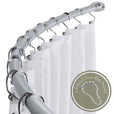"""Adjustable 58"""" - 72"""" Opening Curved Shower Rod with Rings Hooks, Polished Chrome"""