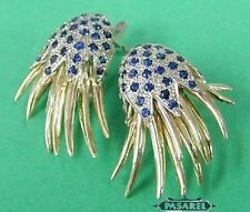 14k White & Yellow Gold Sapphire Designer Earrings