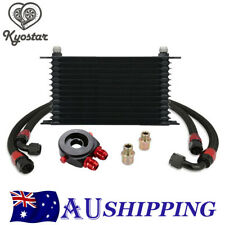 13 Row 10AN Transmission Oil Cooler W/ Filter Adapter Hose Fitting Kit Universal