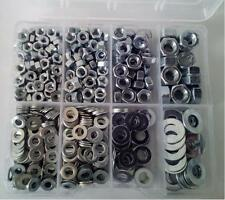615 Pcs. Hexagon Full Nuts and Flat Light Washers in plastic box M4, M5, M6, M8