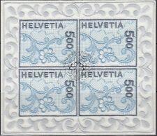 SCHWEIZ, 2000 St. Galler Stickerei 1726 Kleinbogen gestempelt, (18257)