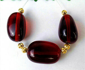 3Pcs 18x12x9mm Brown Red Agate Height Hole Oval Pendant Bead AP19343
