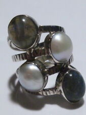 INCREDIBLE QUAD BAND PEARL AND MOONSTONE STERLING SILVER MODERN RING BAND SZ 9.5