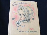 #733 Sweet Vintage 1940s Baby Greeting Card Pastel Bonnet Stork Bassinet