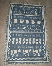 Country Farm Blanket Afghan Lap Throw Geese Cows Sheep Hearts Prim Shabby Wall