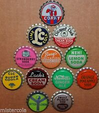 Vintage soda pop bottle caps 12 ALL DIFFERENT cork lined mix #26 new old stock