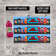6 Personalised Superhero Birthday Party Fruit Shoot Bottle Wrappers