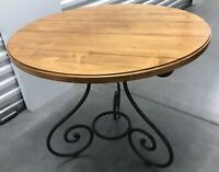 Ethan Allen Table Round Legacy Country French Wrought Iron Scrolling Russet