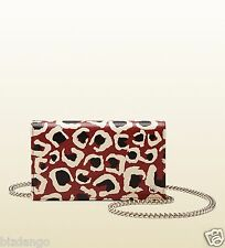 NEW GUCCI Leopard Print Leather Chain Wallet in Animal (leopard) NEW