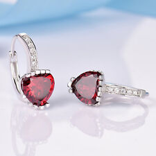 Silver Huggie Heart Cut Ruby Red Crystal CZ White Gold Filled Women Hoop Earring