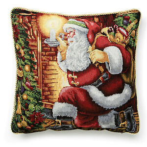 "Tapestry Santa 18"" Pillow Cover, Needlepoint Look, Gold Roping, Christmas"