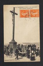 LE TREPORT (76) MARCHANDE de SOUVENIRS au CALVAIRE animé en 1922