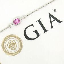 "NEW 18K White Gold 18"" .96ctw GIA Cushion Pink Sapphire Diamond Pendant Necklace"