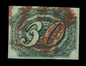 BRAZIL 1844  INCLINADOS  30reis black  Scott # 8 used , red brown cancel