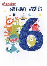 Monster Birthday Wishes Boys 6th Birthday Greeting Card Childrens Birthday Cards