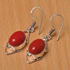 925 Silver Overlay Earrings Jewellery - Coral - 25mm Height - EAR-A201