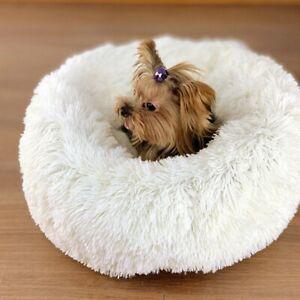 Pet Dog Yorkie Cat Calming Bed Soft Plush Round Nest Kitten Comfortable Sleeping