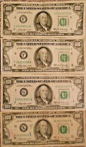 1969-A $100 United States Federal Reserve Notes: Lot of Four