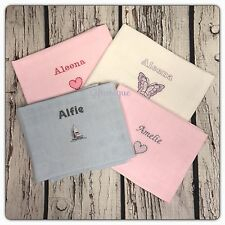 PERSONALISED Embroidery Baby Muslin Cloth Wash Face Burp Gift Boy Girl Keepsake