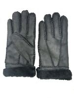 Women's Genuine Sheepskin Black Warm Leather Shearling Fur Gloves