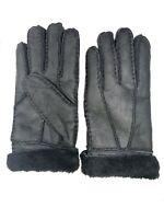 Women's Genuine Sheepskin Black Warm Leather Shearling Fur Gloves