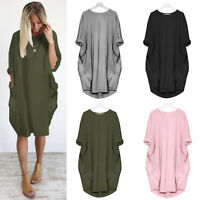 Womens Long Sleeve Midi Dress Plain Big Pocket Loose Baggy Stretch Tops Oversize