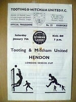 Isthmian League 1966/67- TOOTING & MITCHAM v HENDON, 7 January