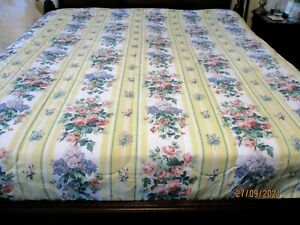 VTG 80s Wamsutta Floral Stripe Comforter Grandmillennial Cottage Core Full/Queen