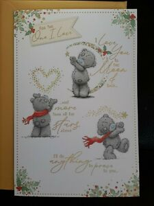"""Me  to You Tatty Teddy 9x6  """"For the One I Love"""" Christmas Card (Lovely Words)"""
