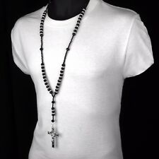 Men Hip Hop 8mm BLACK Bead Silver Cz Rosary Jesus Cross Religious Necklace Chain