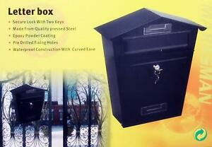 MARKSMAN BLACK QUALITY PERSSED STEEL EXTERIOR LETTERBOX SECURE LOCK WITH 2 KEYS