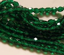 GREEN ZIRCON 4MM FIRE POLISHED  GLASS BEADS