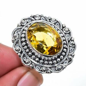 Aaa+++ Citrine Gemstone 925 Sterling Silver Jewelry Ring s.9 T8626