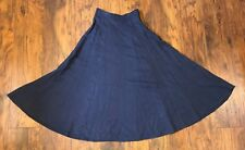 Vintage Kikit Women's Long Twirl Navy Blue Skirt Back Pockets 8 Small High Waist